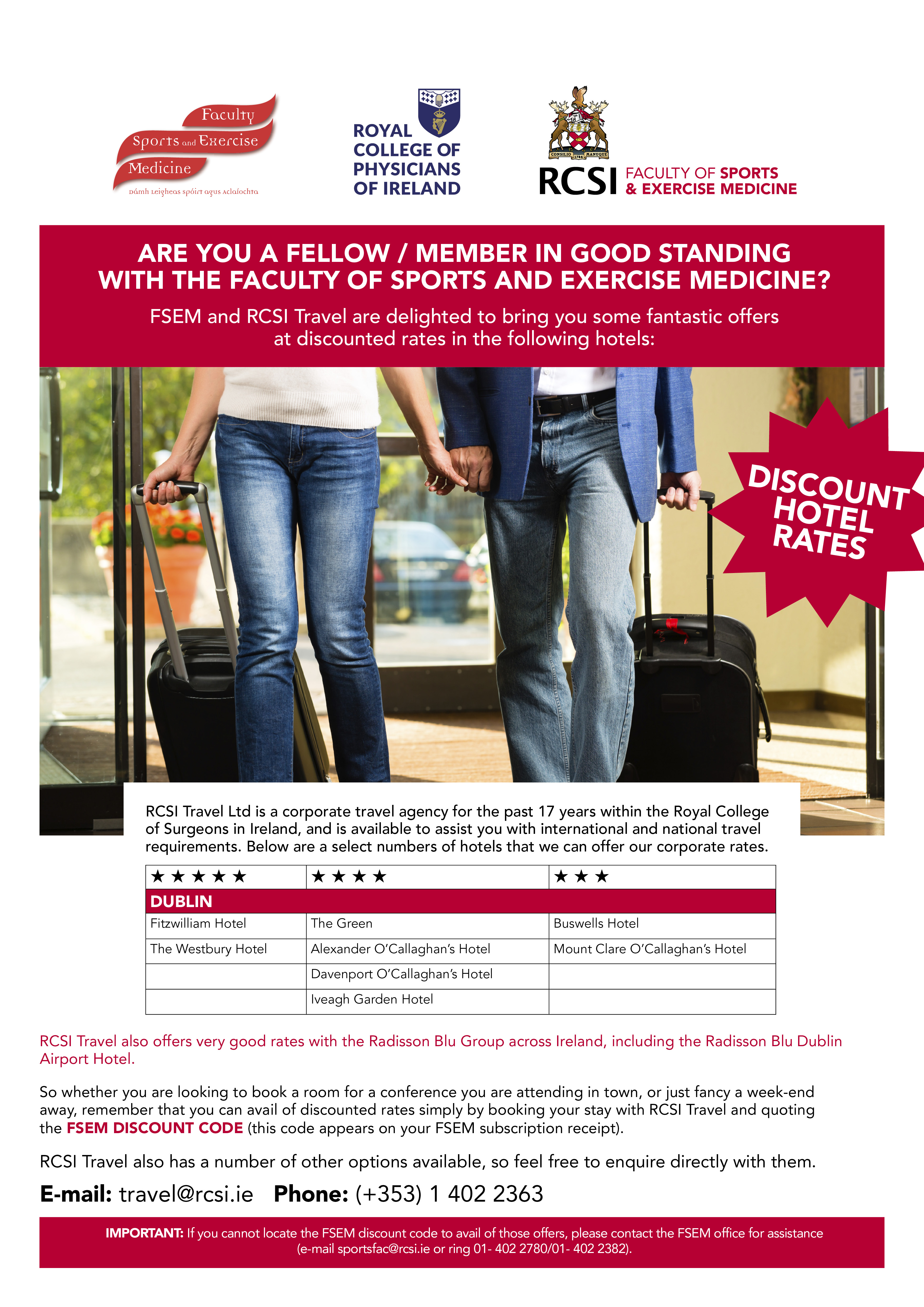 AD3832 FSEM FM RCSI Travel Hotel discount flyer FINAL